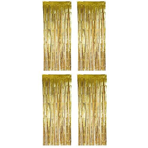 Folie Vorhang,Fransen Vorhänge 4 Packung Lametta Hintergrund Metallic Vorhänge für Geburtstag Hochzeit Foto Booth Dekorationen 1 * 2.5m Gold