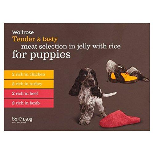 oferta-pblica-y-seleccin-de-carne-sabrosa-en-la-jalea-con-el-arroz-para-cachorros-waitrose-8-x-150-g