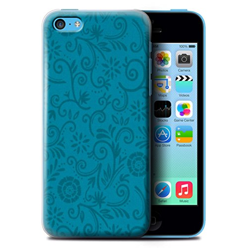 Coque de Stuff4 / Coque pour Apple iPhone 5C / Fleur rouge Design / Motif Remous floral Collection / par Deb Strain / Penny Lane Publishing, Inc. Fleur bleue