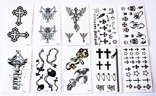 wolga-kreativ-tattoo-set-10-bogen-wie-hauptbild-kreuz-schwarz-schlussel-totenkopf-skorpion-schloss-t