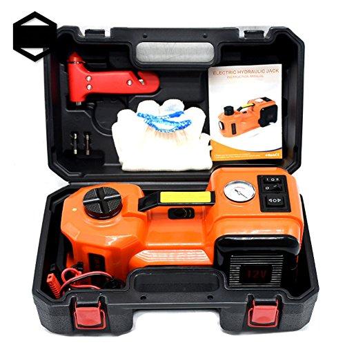 GOGOLO 5T Elektrische Hydraulische DC12V KFZ Wagenheber Rangierwagenheber Kit Einschließlich Notfall Reifenfüller Pumpe mit LED Auto Repair Tool Kit für Auto, SUV (5T)