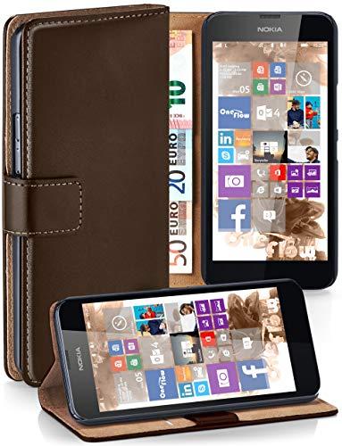 moex® Booklet mit Flip Funktion [360 Grad Voll-Schutz] für Nokia Lumia 630   Geldfach und Kartenfach + Stand-Funktion und Magnet-Verschluss, Dunkel-Braun (Sim-karte Für Nokia Lumia 635)