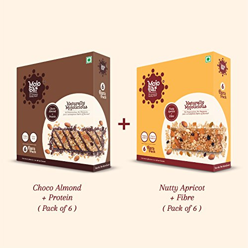 Mojobar - Combo Pack Of 12 (6 Choco Almond + 6 Nutty Apricot) Snack Bar