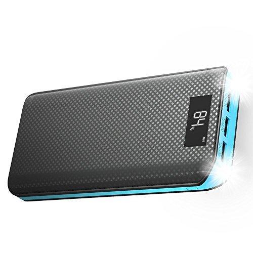 X-dragon caricabatterie portatile 20000mah power bank batteria esterna con display lcd 3 porte usb per iphone, ipad, samsung, huawei, smartphone, android, cellulari, universale cellulare - blu
