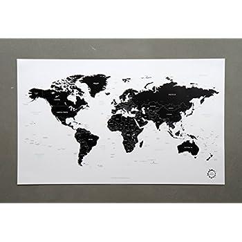 poster carte du monde noir et blanc design unique traveler. Black Bedroom Furniture Sets. Home Design Ideas