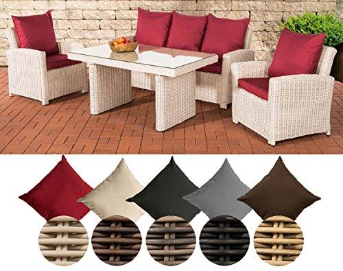 CLP Meubles de Jardin FISOLO, en polyrotin de 5 mm, piètement Aluminium (Sofa 3 Places, 2 fauteuils, Table 140 x 80 cm) Couleur de rotin: Blanc Perle, Revêtement: Rouge Rubis