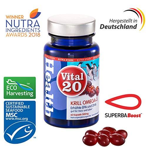 Vital20 Krillöl Omega 3 , Superba Boost , Extra hohe EPA & DHA Konzentration  60x590mg Softgel Kapseln, Hergestellt in Deutschland,Gut für Herz und Leber (Health Claim)MSC zertifiziert -