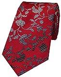 David Van Hagen - Cravatta da uomo in seta, motivo floreale, colore: rosso/nero