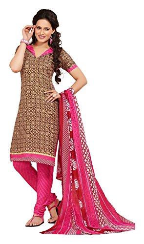 Nellai Sarees Women's Cotton Unstitched Dress Material (Brown)