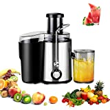 Spremiagrumi spremiagrumi spremiagrumi frutta verdura spremiagrumi frullatore 75 mm feeder chute bocca a basso rumore 2 velocità per Apple Orange Tomato anguria ananas fragola spremiagrumi e centrifuga verdure Dual Speed Setting Power Fruit Juicing macchina potente 1000 W con bicchiere per succo e pulizia brush-stainless Steel sicurezza alimentare materiali