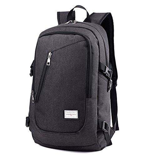 CherryKelly Sac à dos pour ordinateur portable 15,6 Pouces Laptop Bag Casual Daypack Toile Porte-documents Business Bag Tablet avec USB Port College/Voyage/Business - Noir