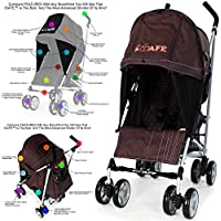 2018 iSafe Tablet Media Viewing - Hot Chocolate (Brown) Stroller Buggy Pushchair + Rain Cover + Changing Bag