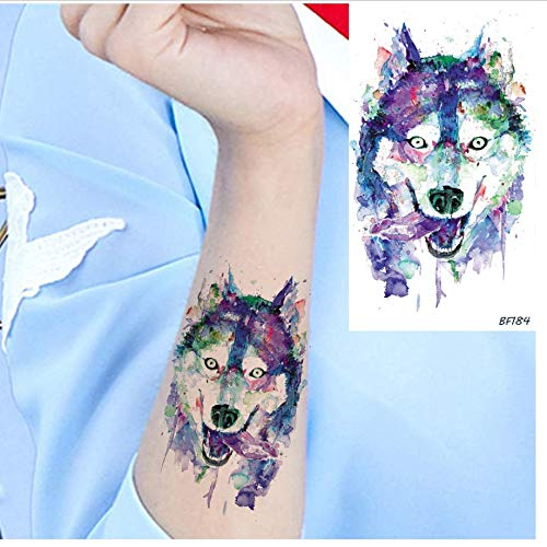re Tattoo Aufkleber Flash Lady Wolf Tattoo Aufkleber Herren Galaxy Körper Arm Husky Tiny Wasserdicht Tattoo Aufkleber Gel Make-Up Tipps ()