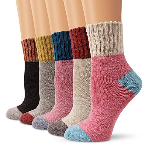 Wollesocken Damen Socken, Moliker Winter Socken 5 Paar atmungsaktiv warm weich bunte Farbe Premium Qualität klimaregulierende Wirkung (5003) (Lange Damen-socken)