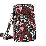 Wocharm Ladies Girls Nylon Design Small Crossbody Shoulder Bag Wristlet Handbags (Coffee Petal)