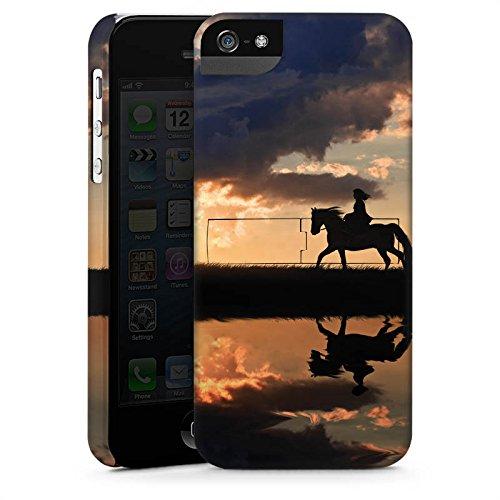 Apple iPhone 5s Housse étui coque protection Cheval Coucher de soleil Faire du cheval CasStandup blanc