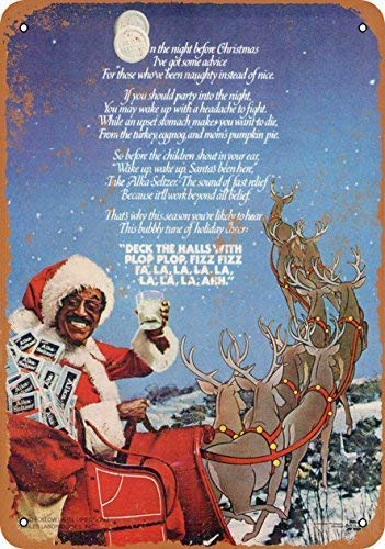 New Tin Sign 1980 Sammy Davis Jr. for Alka Seltzer Wall Plaque Vintage Look Novelty Metal Sign Aluminum 8x12 INCH
