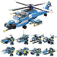 ANGLE Compatible con Lego 8-en-1 Ciudad policía Marina Sello Comando Militar avión portaaviones Rompecabezas montado Bloques de construcción Primaria Escuela niños Juguetes