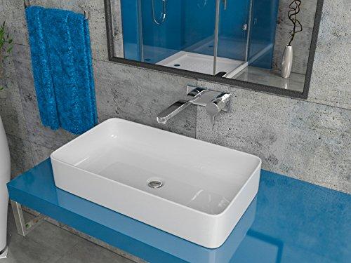 Design Keramik Aufsatzwaschbecken Waschtisch Waschschale Aufsatzwaschschale Keramikschale weiss eckig 60x34x11cm KB-PL390