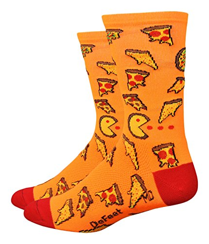 Defeet Aireator Pizza Party Socken, Unisex-Erwachsene, neon-orange, Medium -