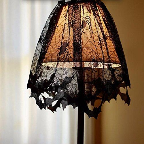 zantec Halloween-Spitze Lampenschirme mit Schwarz Spinnen und Fledermäuse Web Design, Lampenschirm Topper/Fenster Vorhang/Kamin Reinigungstuch für Halloween Home Decor