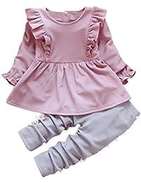 Kobay Kleinkind Kinder Baby Mädchen Outfits Lange Ärmel T-Shirt Tops + Spitze Hosen Kleidung Set