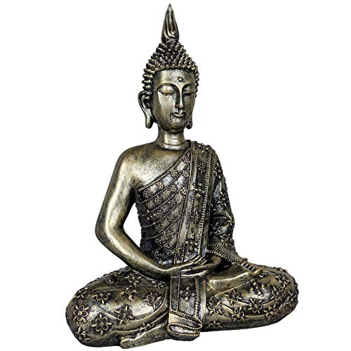 dszapaci Buddha Figur Groß 40cm Sitzender Thai Statue Dekofigur Fengshui Deko fürs Wohnzimmer oder Bad