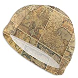Gebrb Gorro de Baño/Gorro de Natacion, Elastic Swimming Hat Diving Caps,Collage with Antique Old World Maps Vintage Ancient Collection of Civilization,For Men Women Youths