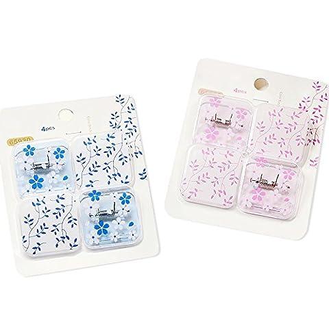 Zhi Jin transparente Fleurs Carré en plastique à ressort Binder clips Clips de feuilles de papier, Lot de 2(Bleu + Rose)