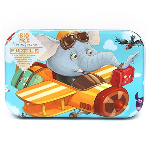 SpringPear 60 Piezas Elefante Volando Puzzle en Caja de Metal de Rompecabezas para Niños a Partir de 3 Años Juguetes Educativos Regalo de Cumpleaños Juego