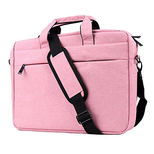 15.6-17 Borsa per Laptop Notebook Rosa ,iCasso Resistente all'acqua con tracolla staccabile Custodia a Tracolla /Ventiquattrore /Sleeve per Computer Portatile MacBook Tablet HP da 17 Pollici