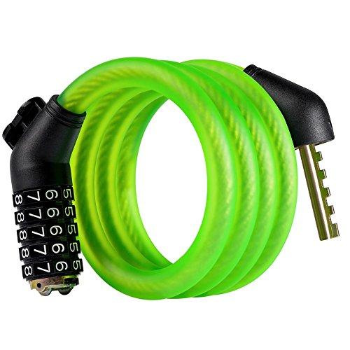 Anti-Theft Bike Lock Cable, Passwort Security Bike Lock, Basic Self Coiling Rückstellende Kombi Cable Bike Schlösser mit kostenlosem Halterung, 3.9/5,9 Füße, 4 Farben , green , 1.2m