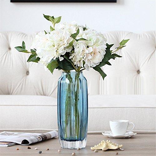 NOHOPE Ortensia Fiori artificiali di emulazione Blu fiore di vasi in vetro Kit moderno ed elegante sala decorata con arte floreale di ornamenti - Delphinium Vaso