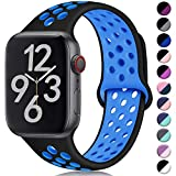 Hamile Correa para Apple Watch 42mm 44mm, Doble Color Pulsera de Repuesto de Silicona Suave Transpirable Correa para Apple Watch Series 5/4/3/2/1, M/L Negro/Azul