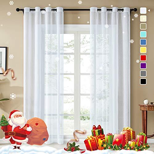 Topfinel trasparenti voile tende lino per la camera da letto della finestra del soggiorno tenda finestra con occhielli,140x280cm,2 pezzi,bianca