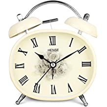 Hense Retro Vintage Mute silencioso movimiento de cuarzo Twin Bell Reloj despertador de mesa. Números Romanos analógico Dial dormitorio escritorio reloj despertador con luz nocturna HA04