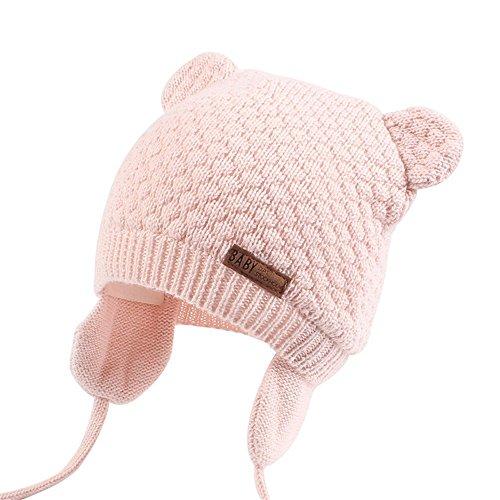 Unisex - Baby Mütze Beanie Strickmütze Unifarbe Wintermütze JOYORUN Rosa M (Baby-mädchen-mütze)