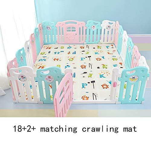 HUO Barrière de Jeu pour bébé Barrière de sécurité pour Enfants Accueil Crawling Toddler Barrière pour bébé Facile à Transporter (Taille : 18+2)