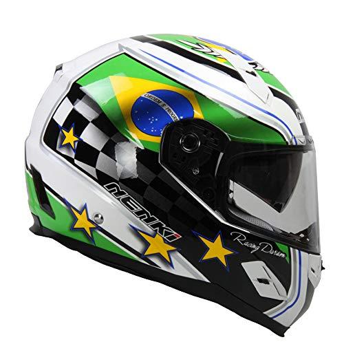 XBTECH Casco Moto Integrale Integrale Anti-Nebbia E Anti-Stordimento Doppia Lente Casco Moto Certificazione ECE per Kawasaki/Yamaha / Benelli/BMW / Suzuki/Honda / Ducati/Aprilia / KTM,L