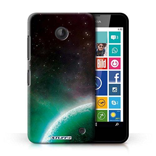 Kobalt® Imprimé Etui / Coque pour Nokia Lumia 630 / Nébuleuse Pourpre conception / Série Cosmos Planète Verte