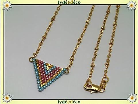 Collier plaqué or perles japonaises bleu turquoise rose or tissage