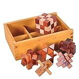Gracelaza 6 Piezas Juguetes Rompecabezas de Madera Caja Set - IQ Juguete Educativo - 3D Brain Teaser Puzzle de Madera - Juego Ideales y Regalos para Niños y Adolescentes