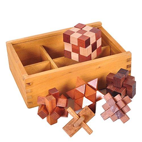 Gracelaza Denksportaufgaben Cube - Knobelspiele Set - Holzspielzeug - 3D Puzzle - Geduldspiel aus Holz - Ideal Mind Spielzeug und Geschenk für Junge und Mädchen
