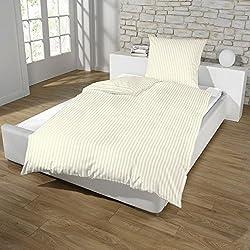 Hotel Damast Luxus Satin Baumwolle Bettwäsche 135x200 + 80x80 Kissenbezug Reißverschluss od Hotelverschluss, Farbe:BEIGE, Größe:REIßVERSCHLUSS