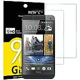 Panzerglasfolie Schutzfolie für HTC One M7, [2 Stück] NEWC® Tempered Glass 9H Hartglas, Anti Öl, Kratzen und Fingerabdrücke Blasenfrei, HD Displayschutzfolie, 0.33mm HD Ultra-klar für HTC One M7