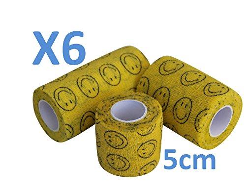 Flexible Selbstklebende Bandagen (Kohäsive Bandage SMILEY Lächelndes Gesicht gedehnt 6 Rollen x 5 cm x 4,5 m selbstklebend Flexible, professionelle Qualität, erste Hilfe Sport Wrap Verbände, 6 Stück)