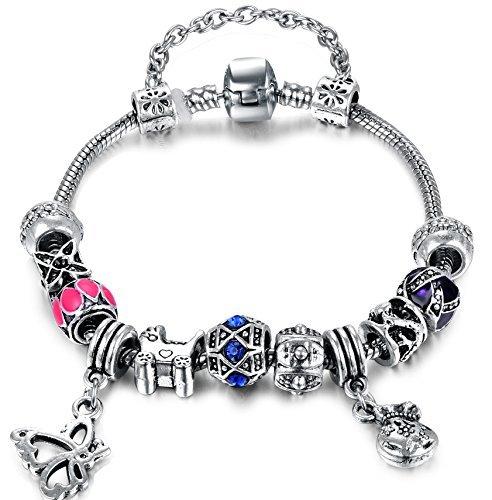 Vintage Flower Blue Pink Bead Butterfly Black Accent Beads Diy European Bracelet for Women Girls (Accent Diamante Bracciale)