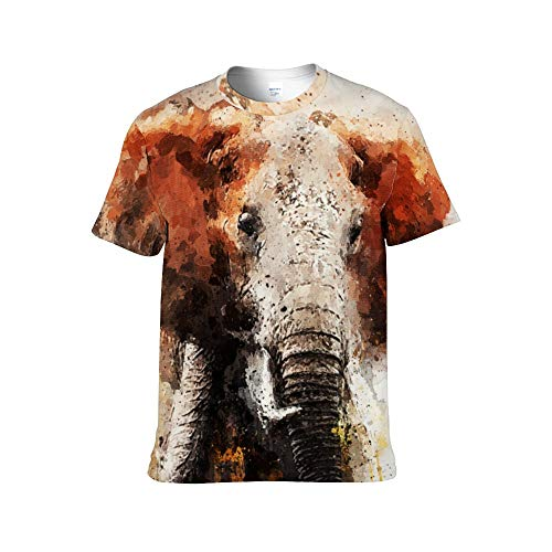 Elefante Pintado Camisetas con Estampado Completo para Adultos (Hombres y Mujeres) Personalidad Material de algodón Camisa con Cuello Redondo Camisas para Hombres Manga Corta Casual-XXXL