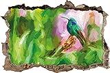 Hummingbird dans son habitat naturel effet Art Brush percée de mur en 3D look, mur ou format vignette de la porte: 62x42cm, stickers muraux, sticker mural, décoration murale