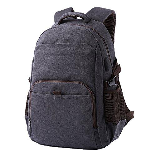 ADEMI USB-Ladeanschluss Student-Tasche Herren-Rucksack Freizeit Umhängetasche Reisetasche Retro-Tasche Computer Tasche,Blue-M